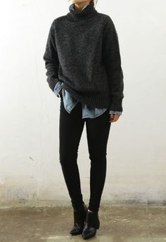 Fall style | Dark grey knitted sweater over chambray shirt, black jeans and boots