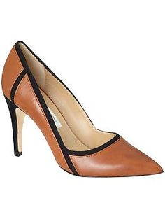 DvF Aki   Piperlime - WISH I COULD AFFORD THESE~! Love the black piping on the cognac
