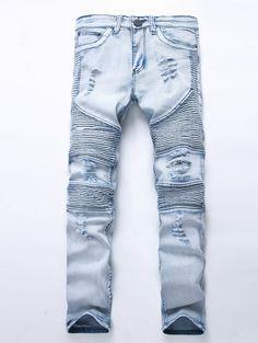 cf233726e5728 Fashion Men s Blue Ripped jeans Denim Pants Knee Hole Motorcycle Biker  Jeans Slim Skinny Destroyed Torn Denim Trousers For Men