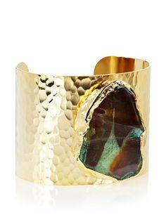 68% OFF Charlene K Large Agate Emerald Quartz Cuff