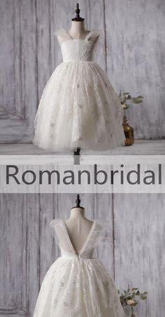 Ivory Cute Lace Tulle Flower Girl Dresses, V-back Cap Sleeve Little Girl Dresses, FG054