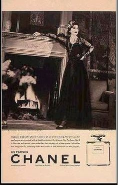 An ad for Chanel No 5, featuring Coco striking a pose in one of her designs.