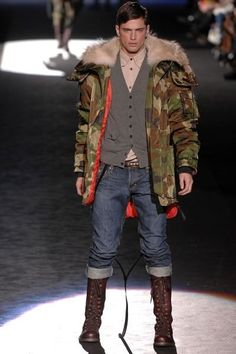 Fall Trends for Men - camo   Military Inspired Menswear   camouflage jacket & boots
