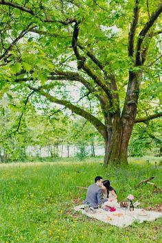 Romantic Vintage Picnic Engagement Shoot by Denise Lin Photography