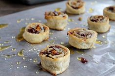 Cranberry and Walnut Pinwheels: Pie crust filled with cranberry and walnut mixture, rolled into a log and cut into cookies, or pinwheels.