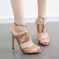 ed4c7e4b02 Straps Shinning Ankle Wrap Open Toe Stiletto High Heel Sandals on Luulla  Flat Sandals, Gladiator