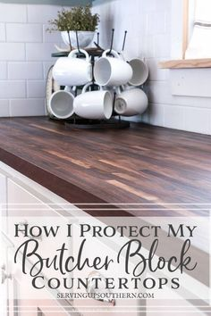 How I Protect My Butcher Block Countertops Butcher Block Countertops Kitchen, Wood Countertops, Countertop Redo, Kitchen Cabinets, Butcher Block Sealer, Butcher Block Island, Oak Cabinets, White Cabinets, Affordable Countertops