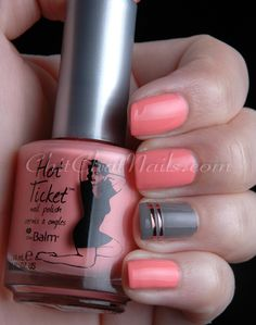 gold striping tape + coral + gray.... simple and great.