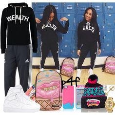 Passion 4Fashion: Can I Get Your Name & Number Cuz' I Like Your Steelo by shygurl1 on Polyvore featuring ONLY, adidas, NIKE, Michael Kors, Sprayground and River Island