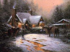 A Christmas Welcome - 1996  Many elements of an earlier and simpler time survived in my boyhood hometown. Rustic scenes like A Christmas Welcome, where horses wait patiently at a split rail fence while their riders enjoy holiday festivities in a rustic stone cottage, are treasured memories. This painting is the seventh in my decade-long Christmas Cottage collection. — Thomas Kinkade
