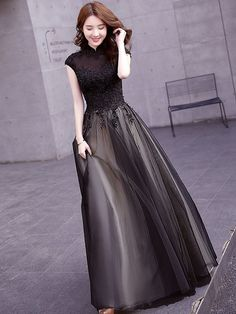 Sunset Black Tulle Qipao / Cheongsam Evening Dress with Sequins