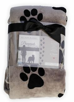 50x60 plush blanket with Pawprints Left by You sentiment. Thoughtful loving gift!