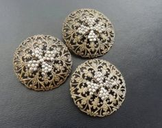Sale - Set of 3 Large Antique Victorian Openwork Brass and Cut Steel Buttons