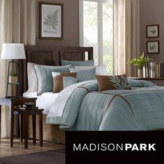 Madison Park Kirkwood Blue 7-piece Comforter Set | Overstock.com Shopping - Great Deals on Madison Park Comforter Sets
