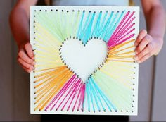 String art is very popular and fun. As a wall décor it can be very stylish and cool for your living room.We present you 30 creative diy string art ideas. Valentine Crafts For Kids, Valentines For Kids, Funny Valentine, Holiday Crafts, String Art Heart, Creative Activities For Kids, Creative Kids, Art Activities, Fun Arts And Crafts