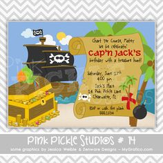 Pirate Treasure Personalized Party Invitation-personalized invitation, photo card, photo invitation, digital, party invitation, birthday, shower, announcement, printable, print, diy,pirate ship, seas,