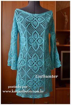 Katia Ribeiro Moda & Decoração Handmade: Vestido crochê com gráfico do motivo