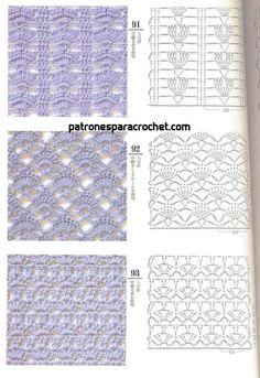 200 patrones crochet de puntos ✅ Crochet Instructions, Crochet Diagram, Crochet Chart, Crochet Motif, Knit Crochet, Knitting Stiches, Crochet Stitches Patterns, Stitch Patterns, Crochet Squares