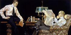 "jc leyendecker original illustrations | : ""Men Reading,"" by Joseph Christian Leyendecker, is the original ..."