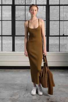 Dress: sundress, long dress, brown, minimalist, tube dress - Wheretoget