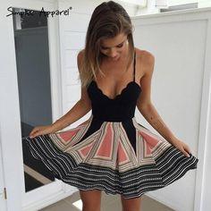 boho print pleated summer dress women v neck high waist beach dresses - Hippie BLiss