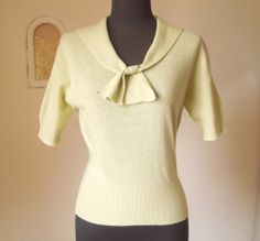 Vintage 50s Mint Green Sweater, CASHMERE, Short Sleeve, Rockabilly, Pin Up, Small to Medium
