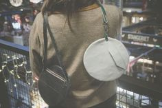 small leather round bag