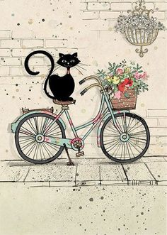 Bike Cat - Bug Art greeting card Ironic isn't it? Illustration Art, Illustrations, Bug Art, Oeuvre D'art, Crazy Cats, Painting & Drawing, Cute Cats, Cats And Kittens, Folk Art