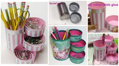 How to recycle tin cans to make a pencil holder