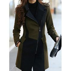 $37.25 Stylish Turn-Down Collar Color Block Worsted Long Sleeve Coat For Women