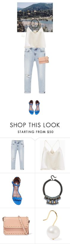 """""""Outfit of the Day"""" by wizmurphy ❤ liked on Polyvore featuring Zara, Tabitha Simmons, Nocturne, Valentino, Aurélie Bidermann, ootd and boyfriendjeans"""