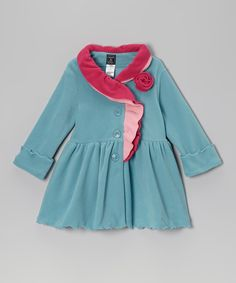 Take a look at this Patina Blue Ruffle-Collar Coat - Infant, Toddler & Girls on zulily today!