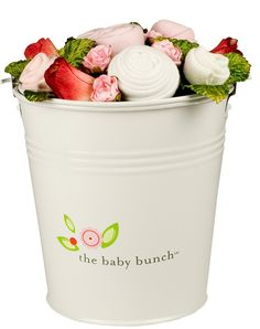 Baby Gift Idea ... All bucket bunches arrive wrapped in cellophane, tied with a ribbon bearing a gift tag: Contains: One Bib, One hat, One One-Piece and Two pairs of Socks... for sale at diapers.com
