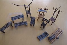 For the chairs, tables and doors, I asked the children to gather lots of sticks on our nature walk.  Then I had each child ask their fairy to build the furniture they wanted from the sticks.  The next morning the children were so surprised to see that the funiture had magically been built in the night.