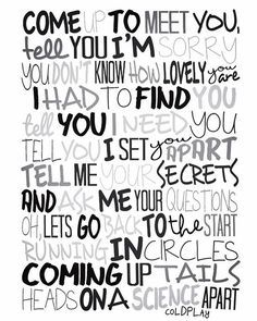Coldplay - The Scientist Poster, Song Lyrics Print, Music Poster, Song Lyrics Frases Coldplay, Coldplay Lyrics, Cool Lyrics, Music Lyrics, Music Love, Music Is Life, Coldplay The Scientist, Letras Cool, Lyric Quotes