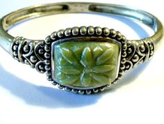 Carved Jade Sterling Silver Bracelet Ethnic by VisionsOfOlde