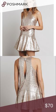 Free People Gold Sequin Dress NWOT ✨ Bought this for the holidays but didn't like the way it fit on me! It is perfect for NYE or a special occasion! Even prettier in person! Free People Dresses Mini