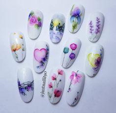 Nail Art Blog, Nail Art Hacks, Gel Nail Art, Flower Nail Art, Flower Nail Designs, Nail Art Designs, Water Color Nails, Water Nails, Sharpie Nail Art