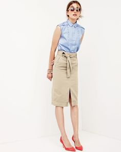 J.Crew women's sleeveless scalloped shirt in french blue, washed cotton skirt, Irving sunglasses and Colette suede d'Orsay pumps.
