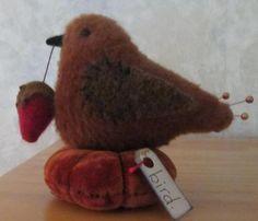 Primitive Wool Bird Strawberry Velvet Make do Pin Cushion Sewing Pfatt | eBay