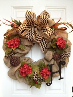 Burlap wreath with hydrangeas and dried by FloralsByStacey on Etsy, $75.00