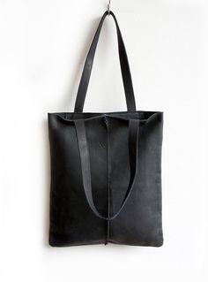 Black Leather Tote Bag Minimalistic Eco Leather Bag Soft Black Leather Tote  Bag 775cf8548c50c