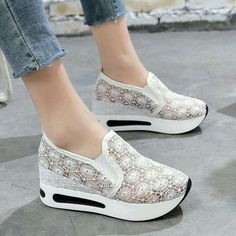Women Casual Platform Shoes Lace High Heels Shoes Woman Wedges Women Shoes Trainers Loafers Height Increasing – Best Of Likes Share Shoes Heels Wedges, Womens Shoes Wedges, Womens High Heels, Women's Shoes, Wedge Shoes, Shoe Boots, Shoes Sneakers, Lace Shoes, Golf Shoes