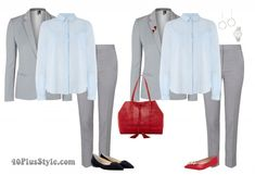 How to complete your outfits with accessories - gray suit silver watch drop pendant earrings| 40plusstyle.com