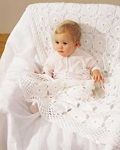 Beautifully lacy, openwork pattern for that precious little one. Measures approx. 33 x 44 in (84 x 112 cm). Shown in Bernat Softee Baby, crochet using size 4.5 mm (U.S. 7) hook.