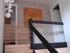 stairway gates - custom modern wood slat staircase safety gate - Blue Ant Studio via Atticmag Diy Dog Gate, Diy Baby Gate, Pet Gate, Dog Gates, Baby Gate For Stairs, Stair Gate, Bunk Beds With Stairs, Diy Stair, Custom Baby Gates