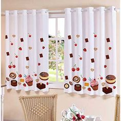Curtain of cupcakes Curtain Patterns, Curtain Designs, Diy Bedroom Decor, Living Room Decor, Diy Home Decor, Kitchen Sink Storage, Cute Curtains, Ideas Hogar, Kitchen Curtains
