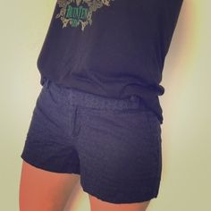 Navy Blue Embroidered Shorts A little Banana Republic in a life never hurt. These Ryan Fit navy blue shorts have a charming design embroidered all throughout. A faux belt at the top has buttons to match! Wear these to your next outing to the yacht club! ;-) Banana Republic Shorts