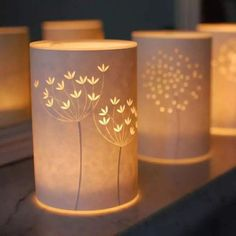 Breathtaking papercut lamps by Hannah Nunn. (photo via Hannah Nunn) Use pretty scrapbook paper, stamp designs, then cut out design w/exacto knife. Fun Crafts, Diy And Crafts, Paper Crafts, Diy Paper, Decor Crafts, Creation Deco, Silhouette Cameo Projects, Deco Table, Home And Deco