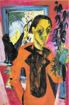 Ernst Ludwig Kirchner, Selbstporträt mit Katze (Self Portrait with Cat), 1920